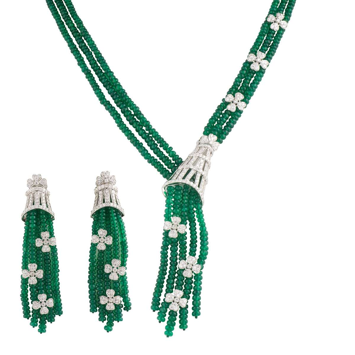 White Gold Emerald and Diamond Jewellery Suite